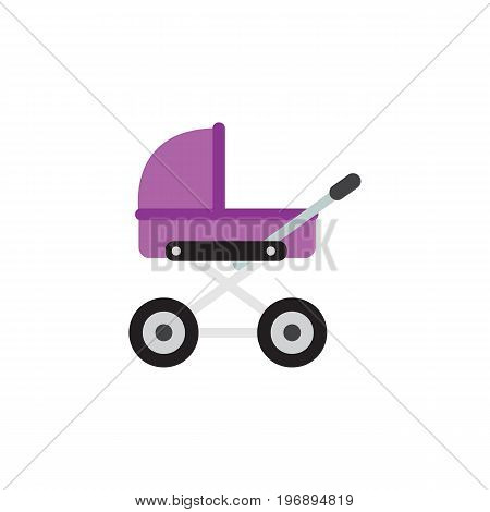 Stroller Vector Element Can Be Used For Stroller, Baby, Pram Design Concept.  Isolated Pram Flat Icon.