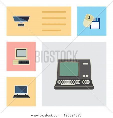Flat Icon Computer Set Of Notebook, PC, Computer And Other Vector Objects