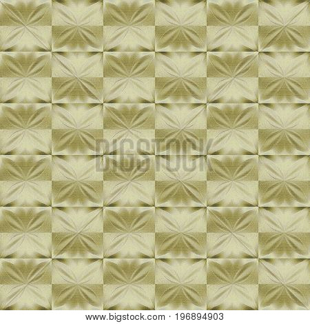 Abstract geometric shiny background. Regular star pattern on squares in golden shades shifted.