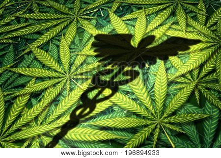 Marijuana medical concept as the shadow of a caduceus on a group of cannabis leaves as a medicinal herb drug symbol with 3D illustration elements.