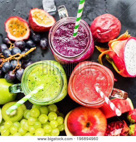 Juices Smoothie Three Jar Red Green Violet Fruits