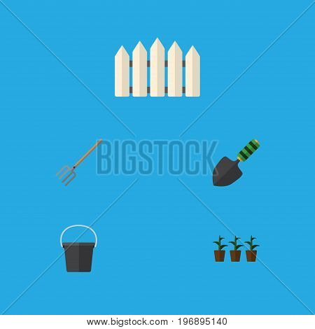 Flat Icon Garden Set Of Hay Fork, Pail, Trowel And Other Vector Objects
