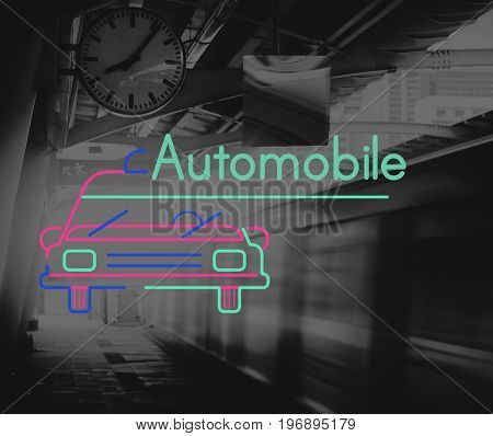 Train Station City Life with Car Icon