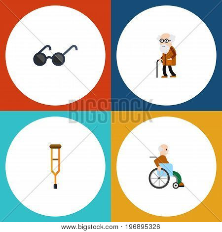 Flat Icon Handicapped Set Of Handicapped Man, Spectacles, Ancestor Vector Objects