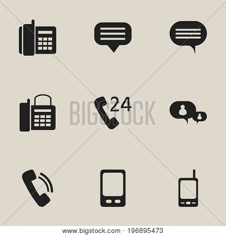 Set Of 9 Editable Gadget Icons. Includes Symbols Such As Talking, Chat, Mobile And More