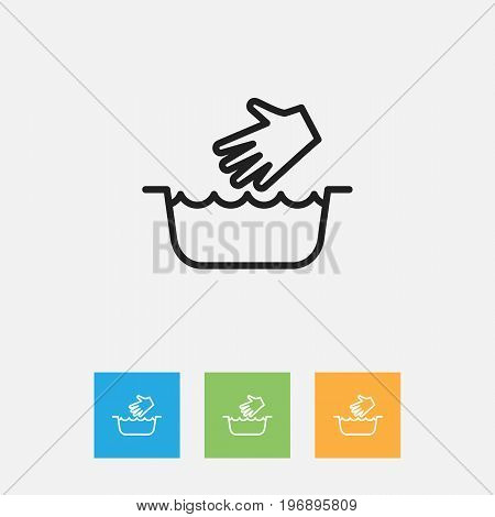 Vector Illustration Of Cleanup Symbol On Clothes Washing Outline