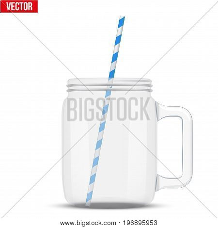 Glass Mason Jar without cap with handle for cocktail and lemonade and smoothie. For bar and restaurant menu. Vector Illustration isolated on white background.