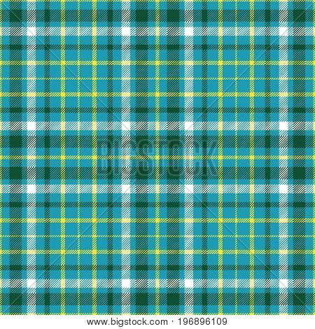 Seamless tartan plaid pattern in palette of dark green, white and  yellow stripes on cyan green background. Checkered fabric print.