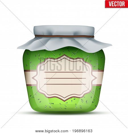 Canning Glass Jar with kiwi jam and closed cloth cover. Jar with label. Vector Illustration isolated on white background.
