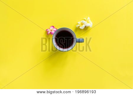 Cup Beverage Scattered White Pink Frangipani