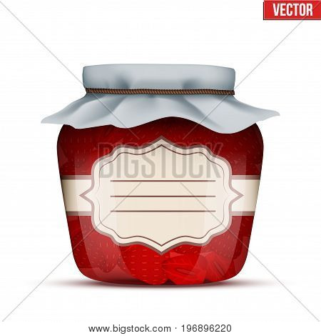 Canning Glass Jar with strawberries jam and closed cloth cover. Jar with label. Vector Illustration isolated on white background.