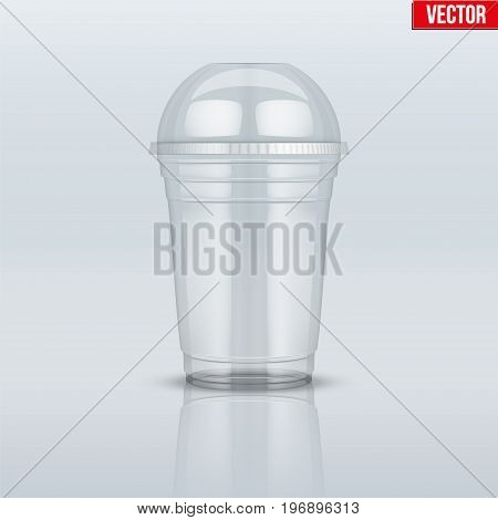 Clear plastic cup with sphere dome cap. For milkshake and lemonade and smoothie. Vector Illustration on presentation background.