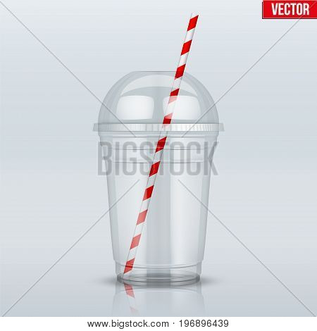 Clear plastic cup with sphere dome cap and cocktail tube. For milkshake and lemonade and smoothie. Vector Illustration on presentation background.