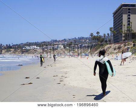 SAN DIEGO, CALIFORNIA, JUNE 12. Pacific Beach on June 12, 2017, in San Diego, California. A Spot on Pacific Beach by Crystal Pier Popular with Surfers in San Diego in California.