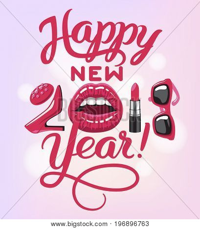 2018 year. woman things. Red glossy lips of open mouth, makeup lipstick, high heels shoes fashion sun glasses. Vector illustration