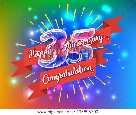 Happy 35th anniversary. Glass bulb number with ribbon and party decoration on the colorful background