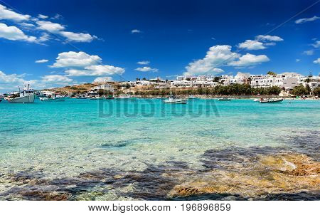 View Of The Village And Old Port Of Pano Koufonisi, Small Cyclades, Greece