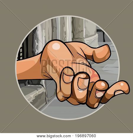 Cartoon hand of a beggar in the street close up