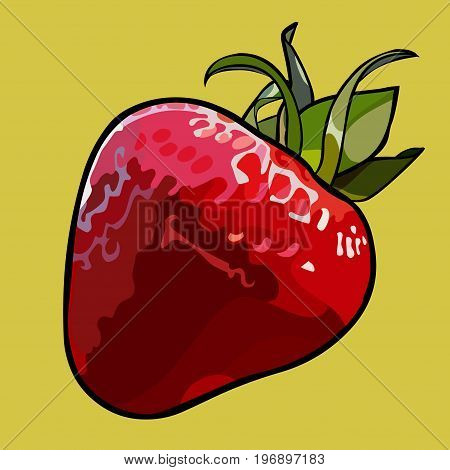 Painted cartoon red strawberry with green leaves