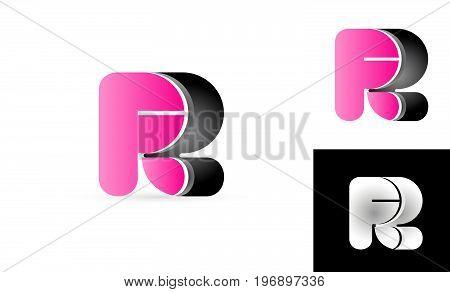 R Pink Black Alphabet Letter Logo Vector Icon Design