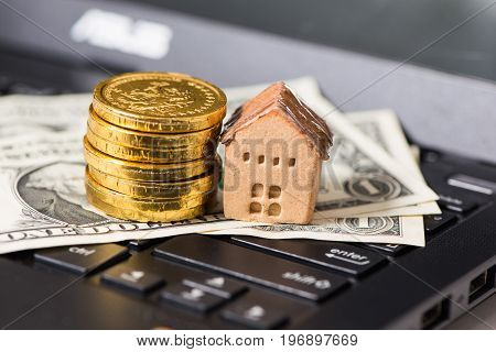 Banknote and House with coin, business concept
