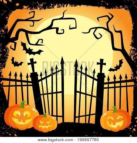 Halloween banner, poster, postcard design with three laughing pumpkin lanterns on cemetery fence background, cartoon vector illustration. Cartoon Halloween poster with pumpkinsand cemetery
