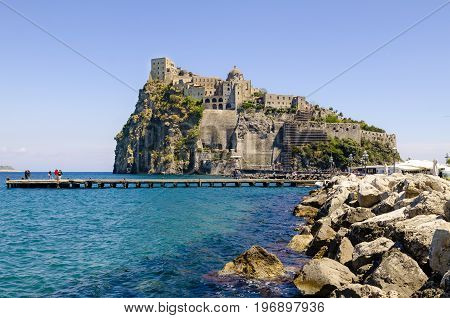 Ischia Ponte with castle Aragonese already fortress, Prision and Monastery of the Ischia island, Bay of Naples Italy