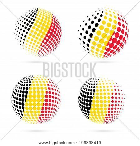 Belgium Halftone Flag Set Patriotic Vector Design. 3D Halftone Sphere In Belgium National Flag Color