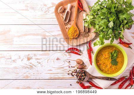 Masoor Dal - Indian Lentil Cream Soup. Curry Hyderabadi Khatti