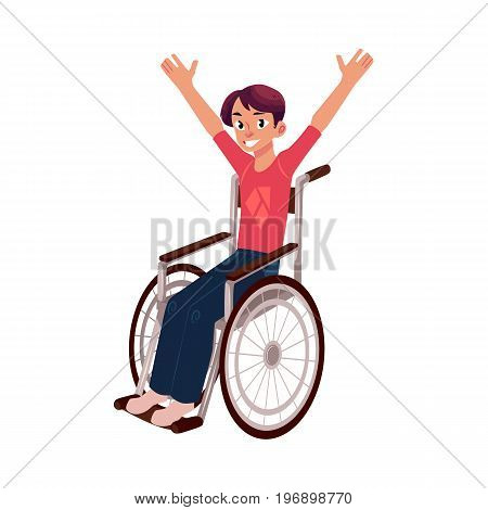 Young man sitting in wheelchair, raising hands in happiness, rehabilitation concept, cartoon vector illustration isolated on white background. Happy smiling young man in wheelchair