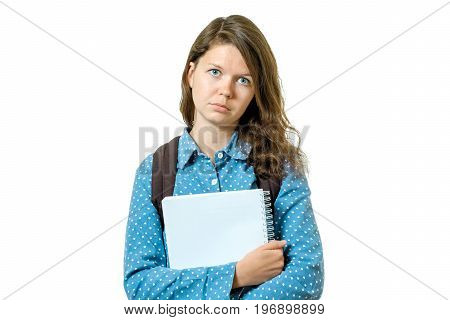 Portrait Of Sad Young Student Girl With Books