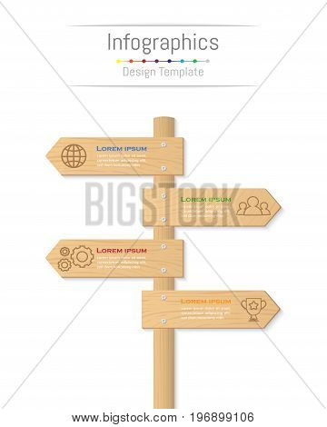 Infographic design elements for your business data with 4 options parts steps timelines or processes. Wood sign concept Vector Illustration.