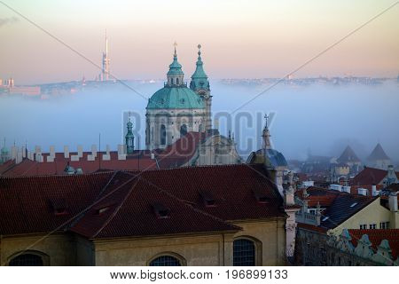 Prague filled with mist perhaps even more beautiful and mysterious