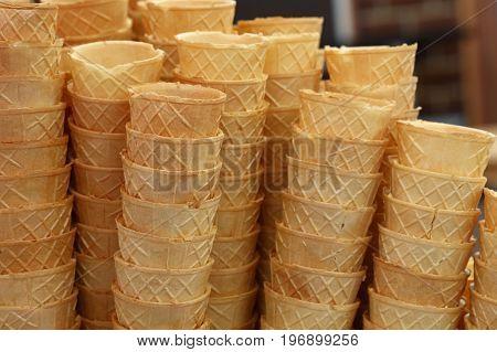 Wafer Ice Cream Cone Cornet Cups Close Up