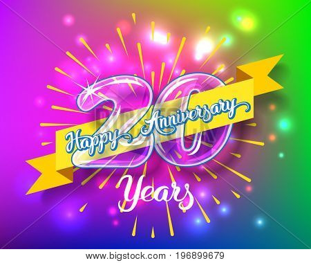 Happy 20th anniversary. Glass bulb number with ribbon and party decoration on the colorful background