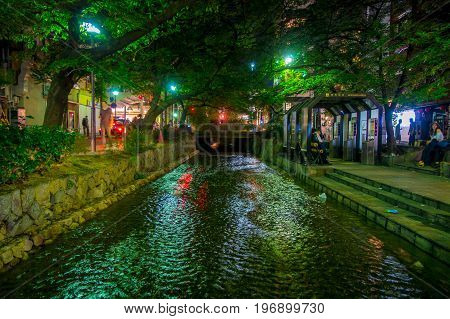 KYOTO, JAPAN - JULY 05, 2017: Kyoto, Japan at the Shirakawa River in the Gion District during the spring. Cherry blosson season in Kyoto, Japan.