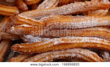 Sweet Fresh Churros Snack With Sugar Close Up