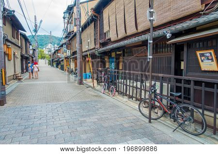 KYOTO, JAPAN - JULY 05, 2017: Tourists walking on Gion district in Kyoto, Japan