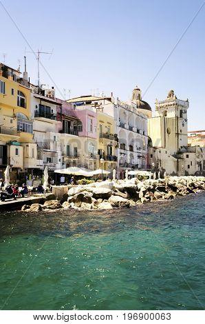 Ischia Bridge and marina village on the island of Ischia, Bay of Naples Italy
