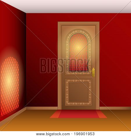 Room interior with closed entrance door. Vector illustration