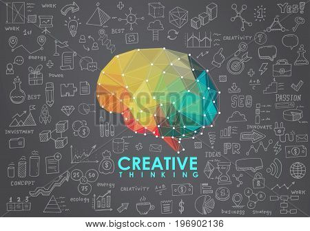 Conceptual Polygonal Brain. Abstract illustration for web and print.
