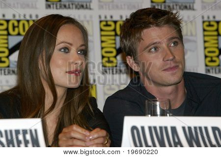 SAN DIEGO, CA - JULY 22: Olivia Wilde & Garrett Hedlund at a press conference for