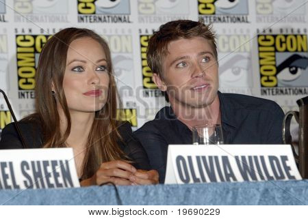 SAN DIEGO, CA - JULY 22: Olivia Wilde & Garrett Hedlund answer questions at a press conference for