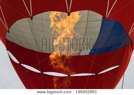 Close-up burning burner, flame of Hot air balloon. Bottom view