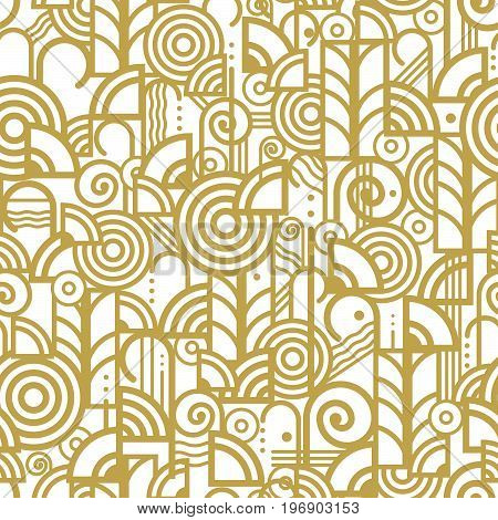 Vector seamless pattern in an art deco style made from various elements arranged randomly in a gold color on a white background