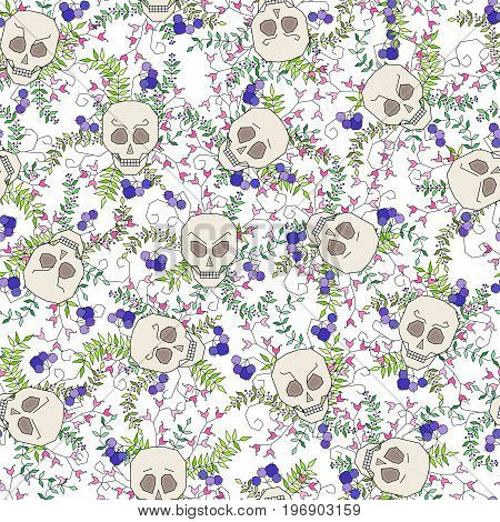 Isolated vector pattern with skulls and natural elements (leaves, flowers, berries) on a white background. Skulls have different character and emotions