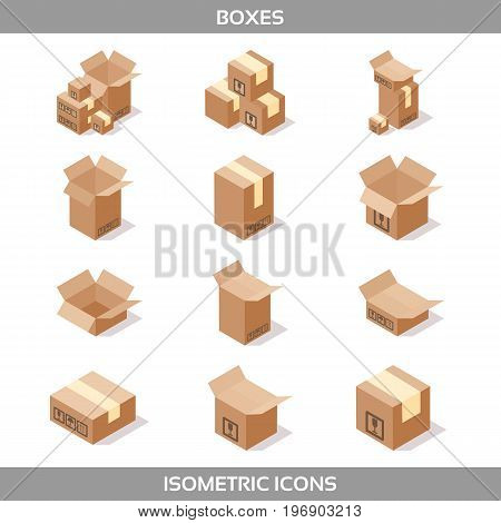 Isometric carton packaging boxes set in isometric style with postal signs this side up fragile vector illustration