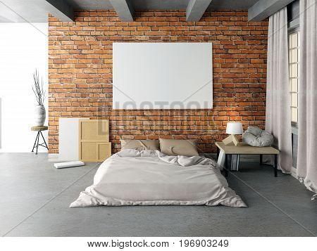 Mock up poster in bedroom interior. Bedroom hipster style. 3d illustration