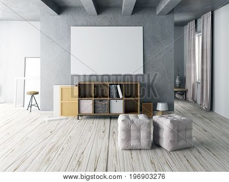 Mock up poster in interior with Cabinet for storage. living room hipster style. 3d illustration