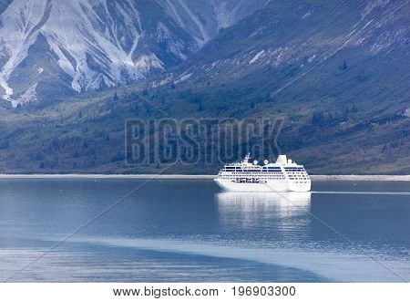 The cruise ship traveling inside Glacier Bay national park (Alaska).
